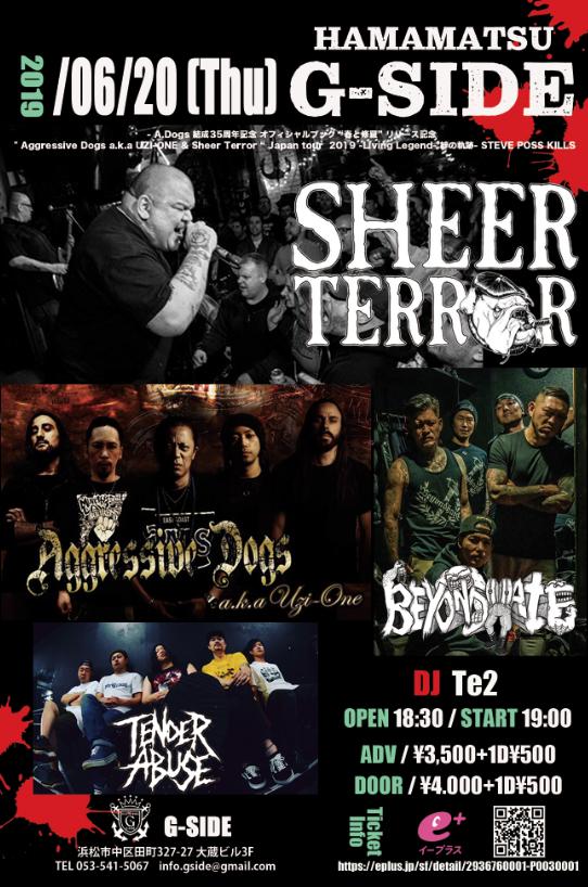 6月20日木曜日 SHEER TERROR / Aggressive Dogs